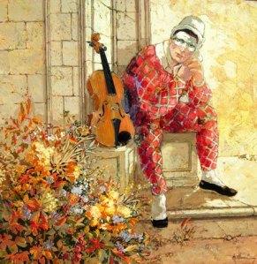The_sad_clown_Oil_painting